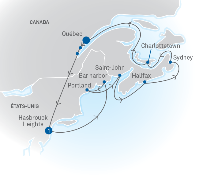 Map Of New York To Quebec Canada.Atlantic Coast New York To Quebec City